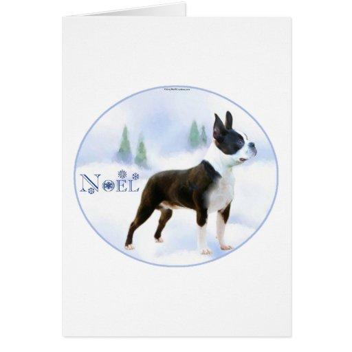 Tarjeta de Navidad de Noel Boston Terrier