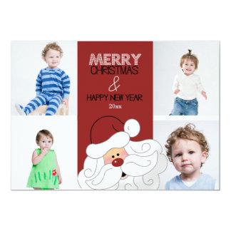 """Tarjeta de Navidad de Papá Noel 4-Photo 5x7 Invitación 5"""" X 7"""""""