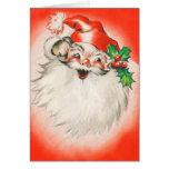 Tarjeta de Navidad de Papá Noel del vintage