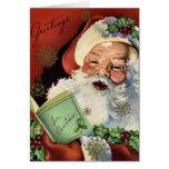 Tarjeta de Navidad de Papá Noel del vintage del