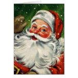 Tarjeta de Navidad de Papá Noel del vintage del KR