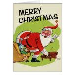 Tarjeta de Navidad de Papá Noel del Vintage-Estilo