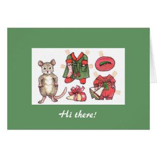 Tarjeta de Navidad de papel de la muñeca del ratón