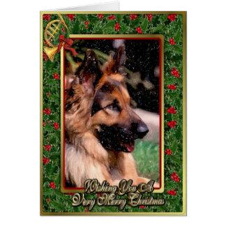 Tarjeta de Navidad de pelo largo del perro de past