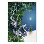 Tarjeta de Navidad de plata del dragón