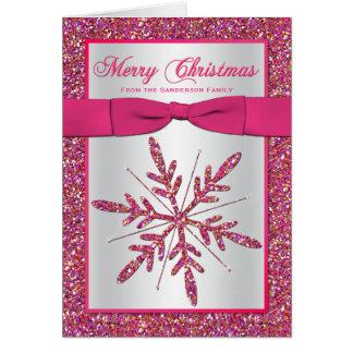 Tarjeta de Navidad de plata rosada de la foto del