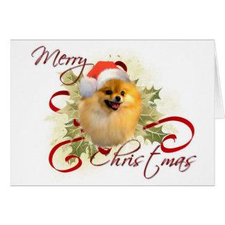 Tarjeta de Navidad de Pomeranian
