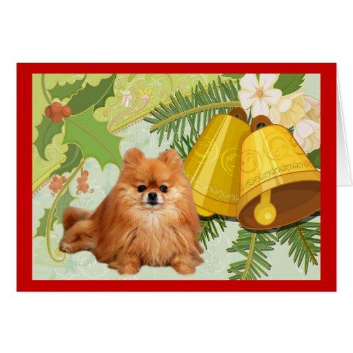 Tarjeta de Navidad de Pomeranian Belces
