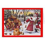 Tarjeta de Navidad de Pomeranian Santa y osos
