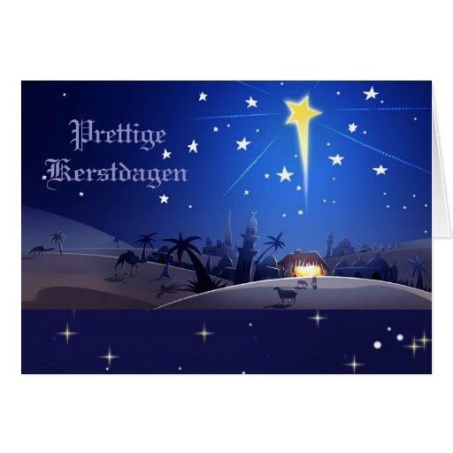 Tarjeta de Navidad de Prettige Kerstdagen.Dutch