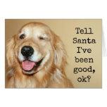 """Tarjeta de Navidad de Santa del golden retriever """""""