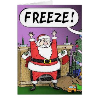 Tarjeta de Navidad de Santa del helada
