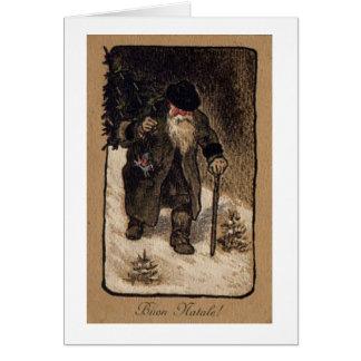 Tarjeta de Navidad de Santa del italiano del vinta