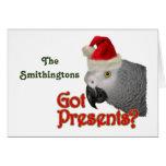 Tarjeta de Navidad de Santa del loro del gris afri