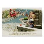 Tarjeta de Navidad de Santa del vuelo