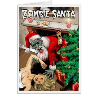 Tarjeta de Navidad de Santa del zombi - interior