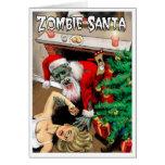 Tarjeta de Navidad de Santa del zombi - interior e