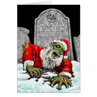 Tarjeta de Navidad de Santa del zombi (interior en