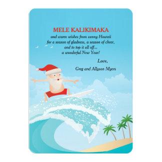 """Tarjeta de Navidad de Santa que practica surf Invitación 5"""" X 7"""""""