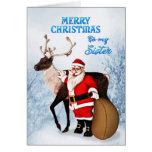 Tarjeta de Navidad de Santa y del reno para la her