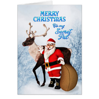 Tarjeta de Navidad de Santa y del reno para PAL se