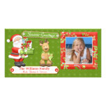 Tarjeta de Navidad de Santa y del reno Tarjeta Fotografica
