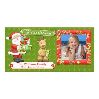 Tarjeta de Navidad de Santa y del reno Tarjetas Personales