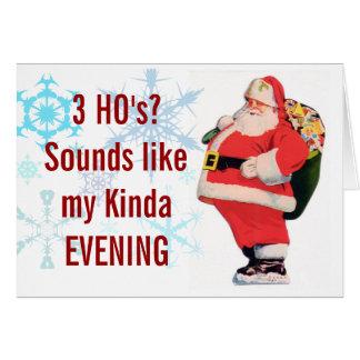 Tarjeta de Navidad de Santas 3 Ho