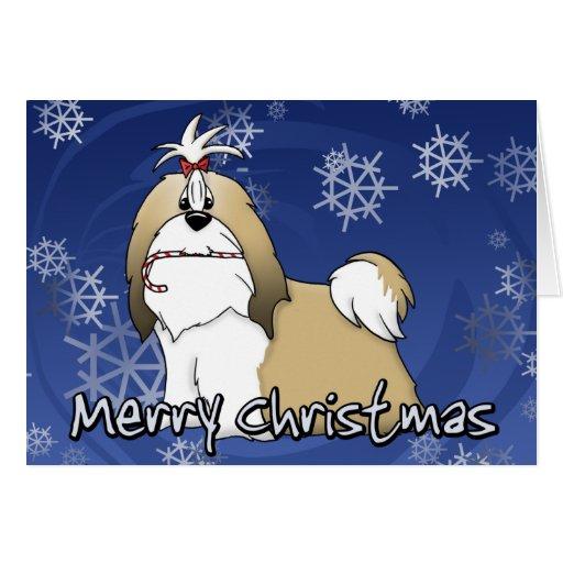 Tarjeta de Navidad de Shih Tzu del dibujo animado