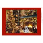 Tarjeta de Navidad de Shih Tzu Fireplace1