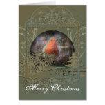 Tarjeta de Navidad de Snowglobe del petirrojo