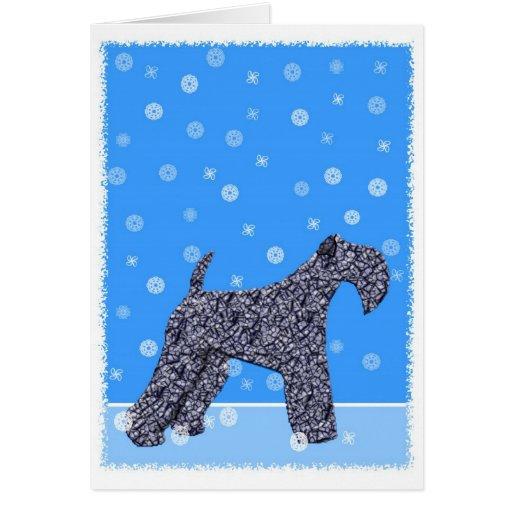 Tarjeta de Navidad de Terrier de azul de Kerry