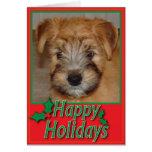 Tarjeta de Navidad de trigo del perrito de Terrier