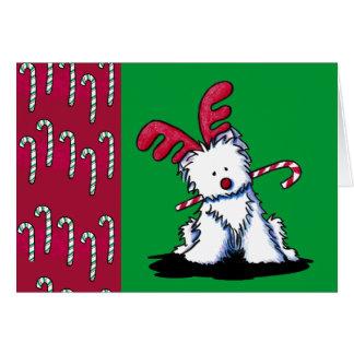 Tarjeta de Navidad de Westie del reno