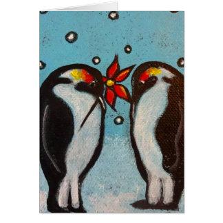 Tarjeta de Navidad del amor del pingüino