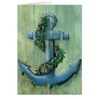 Tarjeta de Navidad del ancla y de la guirnalda