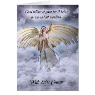 Tarjeta de Navidad del ángel del primo religiosa