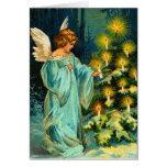 Tarjeta de Navidad del ángel del vintage