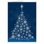 Tarjeta de Navidad del árbol del copo de nieve