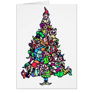 Tarjeta de Navidad del árbol del duende
