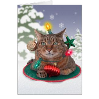 tarjeta de Navidad del árbol Gato-mas