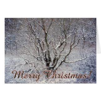 Tarjeta de Navidad del árbol Nevado