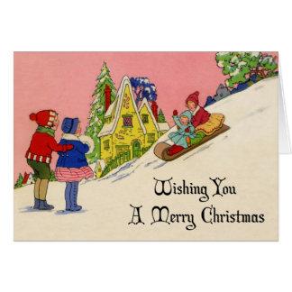 Tarjeta de Navidad del art déco de los años 30 del