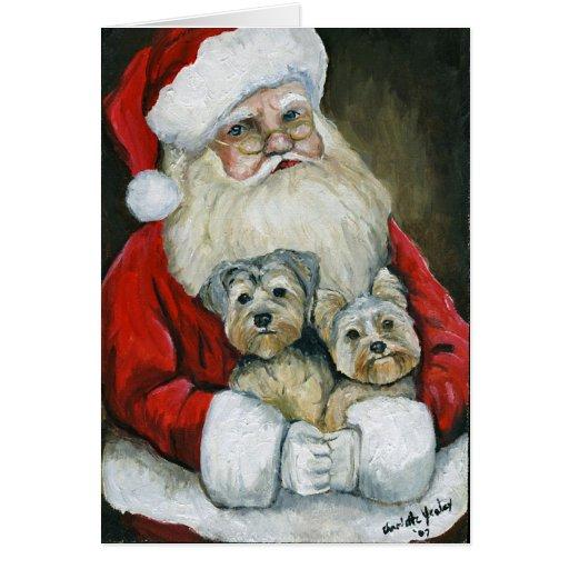 """Tarjeta de Navidad del arte del perro de """"Santa y"""