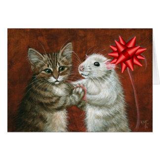 Tarjeta de Navidad del baile del gato y de la rata