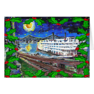 Tarjeta de Navidad del barco de río