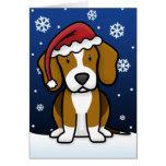 Tarjeta de Navidad del beagle de Kawaii