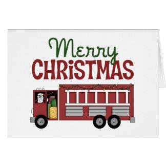 Tarjeta de Navidad del bombero