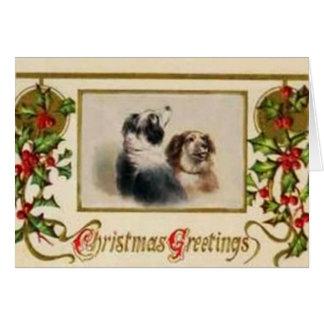 Tarjeta de Navidad del border collie del vintage