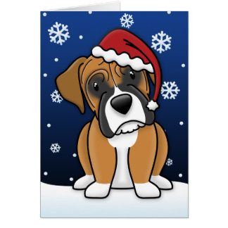 Tarjeta de Navidad del boxeador de Kawaii